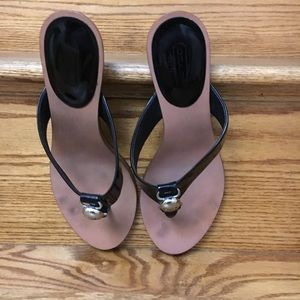 Coach black kitten heel sandals.